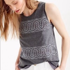 J. Crew Lace Panel Tank Top in Charcoal Gray